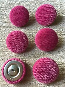 Fuchsia Pimlico Chenille Velvet 45L/28mm Upholstery Loop Back Button Pink