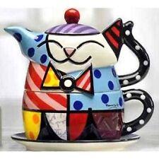 Romero Britto Full Size Ceramic White Cat Tea For One Teapot