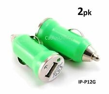 2-PACK Green USB Mini Car Charger 1000mA Travel Adapter, Great Gift, IP-P12G-2