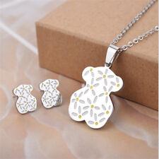 Woman Lady Teddy Bear Simple Pendant Ear Stud Earrings Necklace Jewelry Sets
