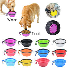 Pet Dog Portable Silicone Foldable Feeding Bowl Water Dish Feeder New