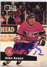 MIKE KEANE Montreal Canadiens 1992 PRO SET  AUTOGRAPHED HOCKEY CARD JSA