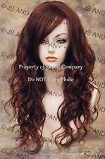 Heat Friendly Long Wavy Curly side Skin Part Dark n Red Auburn Mix Wig wd 33-130