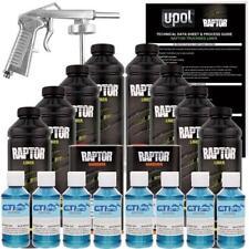 U-POL Raptor Blue Metallic Urethane Spray-On Truck Bed Liner W/Free Spray Gun 8L
