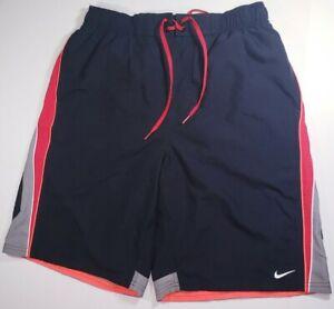 Nike Men's Swim Shorts Size M Black, Red & Neon Orange #RN37763 Trunks