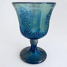 Vintage Carnival Indiana Glass Wine Glass Tumbler Grape Harvest Blue Iridescent