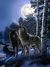 Canvas Print Wolves in the full moon night oil painting printed on canvas L1249