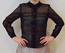 Temperley London Silk Black Hazel See Through Shirt Size 10   #*1