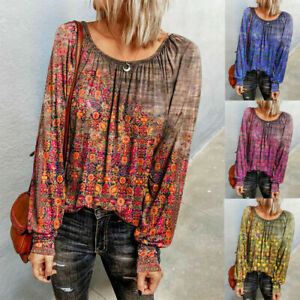 Women Long Sleeve Floral Tops Ladies Casual Loose Boho Blouse T Shirts Tunic Tee
