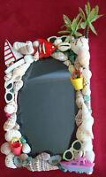 Fun, 3D picture frame with plastic sunglasses, seashells, sailboat,sand buckets+