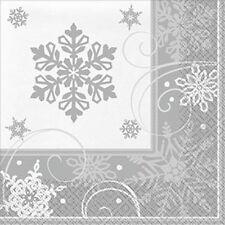 Servizio da tavola di Natale-Fiocco di neve Scintillante Cena tovagliolo-Confezione da 16