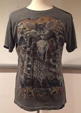 AFFLICTION Distressed Gray LIVE FAST Black Cloud Bound For Glory T Shirt Large