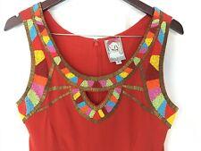 Red 100% silk beaded Yoanna Baraschi dress size 2
