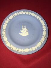 Antique Vintage Wedgwood Blue Porcelain Plate The Mayflower Ship Anniversary