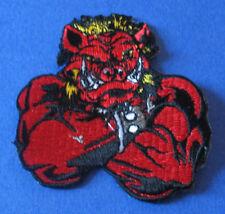 BRAND NEW RED WARTHOG MAN BIKER IRON ON PATCH