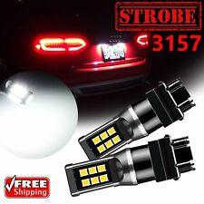 2x 6000K White 3157 3156 21SMD Strobe LED Tail Brake Stop Light Bulbs 12V-24V