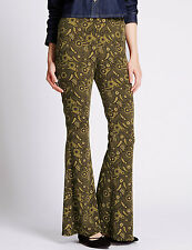 BNWT M&S Limited Edition Khaki Paisley Bootcut Trousers Size 10 Leg 30.5""
