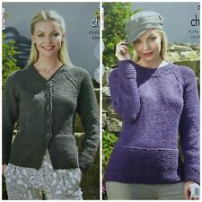 KNITTING PATTERN Ladies Very Easy Knit Jumper & Cardigan Chunky King Cole 5322