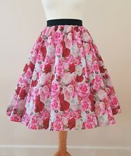 1950s Circle Skirt Pink Rose Bouquet All Sizes - Rockabilly Floral Wedding Roses