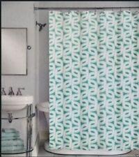 Peri Neeko Geometric Dark & Light Green on White Modern Fabric Shower Curtain