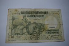 1938 Belgium 50 Francs / 10 Belgas Banknote