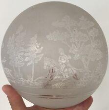 Globe de Lampe a Pétrole Oil Lamp Huile Ancien Napoléon III Verre Chasse a Coure