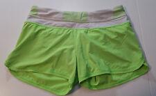 Lululemon Sz 10 Run Groovy Short Zippy Green VGUC see notes White stripe waist