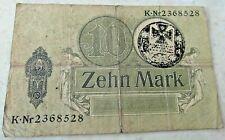 German 10 ZEHN MARK BANKNOTE 1914 IRON CROSS WW1 ~1