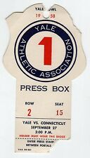 1958 YALE UCONN Connecticut PRESS BOX PASS Ticket Stub NCAA FOOTBALL Bowl CT Ivy
