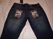 Authentic Ed Hardy Christian Audigier Skulls Dark Wash Denim Mens Jeans 38x34