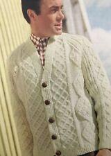 FM25b Knitting Pattern - Men's 3-ply Bainin Aran Cardigan Jacket