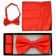 Pre Tied Bow Tie Red Hankie Handkerchief Prom Wedding Bar Mitzvah Confirmation