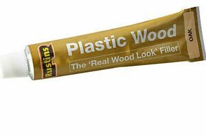 1 x Rustins Plastic Wood Oak Filler Tube Repair Fix Fills Cracks Gaps Holes 20g