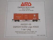 Accucraft / Ams Am2201-05 Box Car - D&Rgw Moffat Logo #3522 1:20.3 Scale