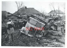 WWII ORIGINAL GERMAN PHOTO TANK & ELITE DIVISION MILITARY TRUCK ON MARCH