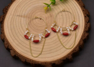 B15 Gold Plated Earring Hoop Curves From Freshwater Pearls Red Coral Chain