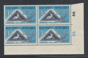 South Africa Sc 194 MLH. 1953 4p Triangular, Corner Block w/ Cylinder Numbers