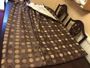 HEAVY CURTAINS. FULLY LINED. GREAT QUALITY.  54 INCHES LONG. BROWN & GOLD. VGC