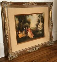 "Nicolas Lancret ""Dancing near Fountains"" Ornate Framed Art Print Vtg Circa 1940s"