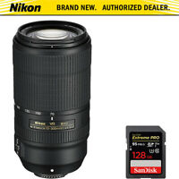 Nikon AF-P NIKKOR 70-300mm f/4.5-5.6E ED VR Fixed Zoom Lens + 128GB Memory Card