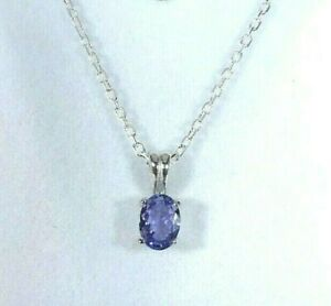 0.67 ct Natural Tanzanite Solid Sterling Silver Solitaire Italy Necklace -46 cm
