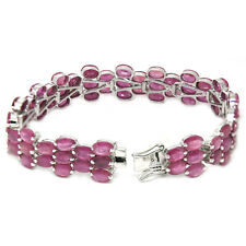 De Buman Sterling Silver Natural Ruby Ladies Wild Tennis Bracelet, 7.2 Inches