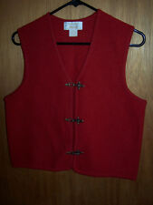 VTG 60s TALLY-HO RED SWEATER Vest/BOILED WOOL/SOLID BRASS CLIPS/PETITE SMALL/PS