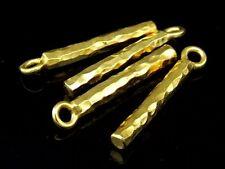 Kg-195 Ksb Thai Karen Hill Tribe Silver 4 Gold Vermeil Hammered Bar Charm