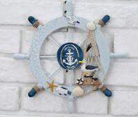 Nautical Marine Wooden Boat Ship Steering Wheel Bathroom Wall Hanging Decor Gift