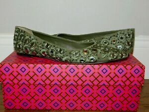 $378! TORY BURCH YASMIN GREEN LEATHER BEADED EMBROIDERED BALLET FLATS SHOES 6.5