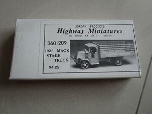 Jordan Highway Miniatures HO 1923 Mack Stake Truck Kit 360-209 NIB