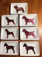 """Scott Liftshutz Artist Dog Appetizer Dessert Unique  Plates-5 1/2"""" x 3 3/4""""-New"""