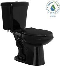 New Elongated Toilet Dual Flush Black 2-Piece Complete Comfort Toilet Seat