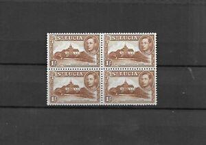 St.Lucia 1938-48 1/- Block of four u/mint